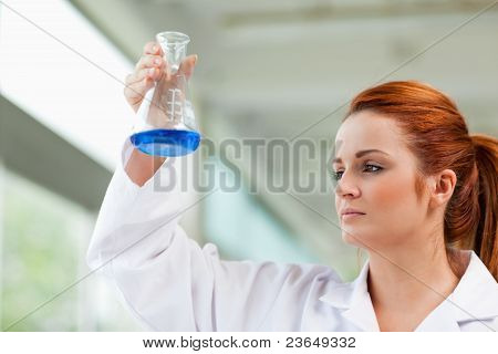 Scientist Looking At A Blue Liquid