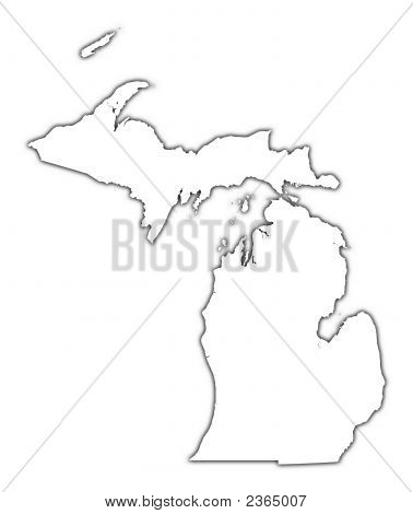 Michigan (Usa) Outline Map With Shadow