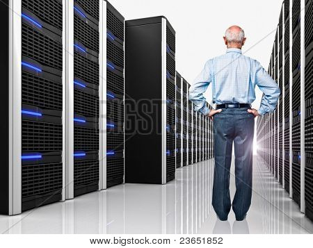 senior in datacenter with lots of server