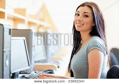 Gorgeous Student Posing With A Computer