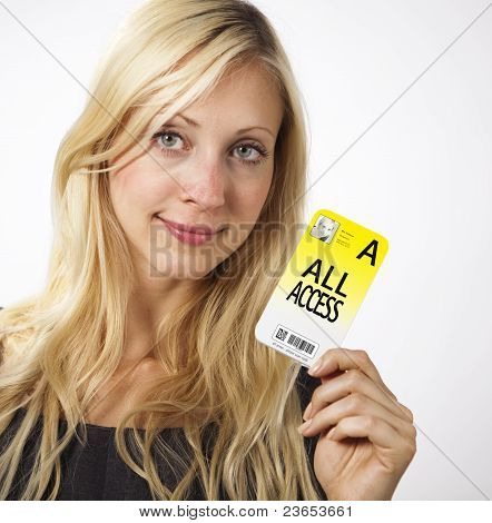 Woman Shows Access Card