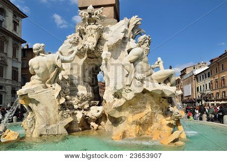 Detail Of Fountain Of Four Rivers Plaza Navona Roma