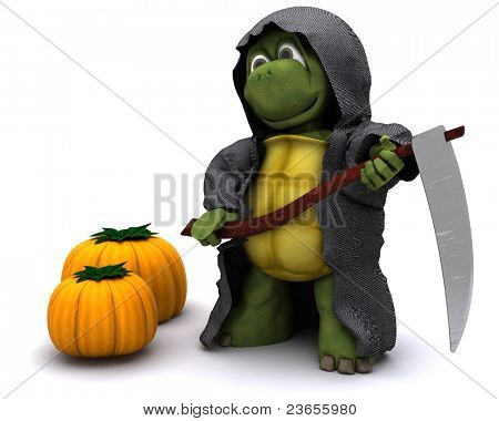 3D Render of a tortoise dressed as the grim reaper for halloween