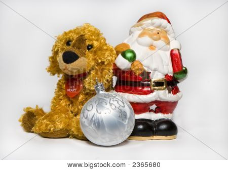 Father Christmas And Red-Haired Puppy Toy And Ball