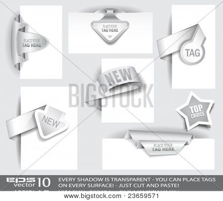 Paper Tag Collection with delicate transparent shadows. Different shapes to use over images or picture frames and isolated ready to be placed on every surface.