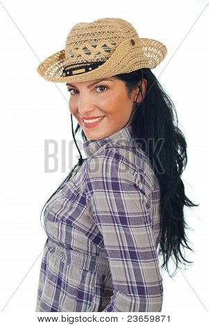 Attractive Cowgirl With Hat