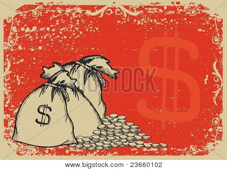 Money Bags .vector Graphic Image With Grunge Background