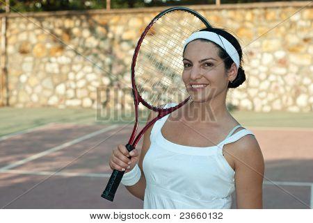 Happy Tennis Player Woman