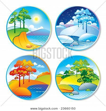 Spring, Summer, Autumn And Winter Landscape In A Circle