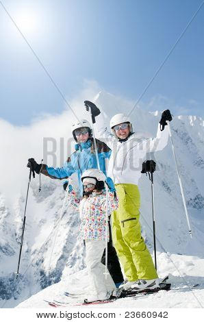 Winter, ski sun and fun - happy ski team (space for text, cover)