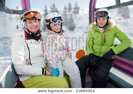 Skiers in cable car