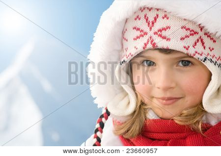 Happy winter vacation - winter child portrait (space for text)