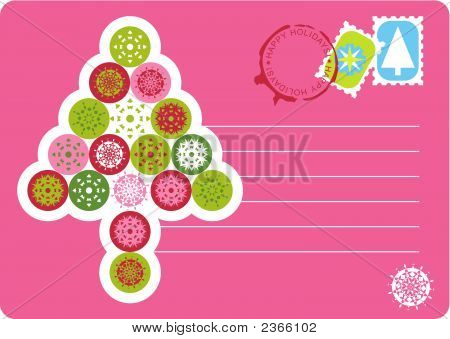 Chirstmas Vector Postcard With A Tree Made Of Snowflakes