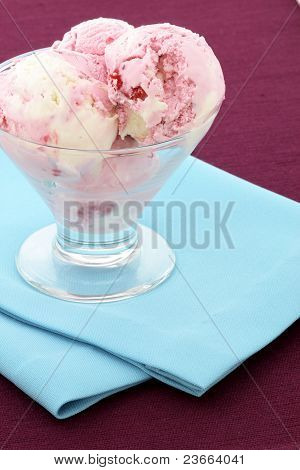 Stawberry And Vanilla Ice Cream