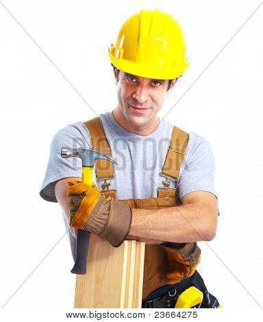 Jung gut aussehend Auftragnehmer in gelben Uniform. Isolated over white background