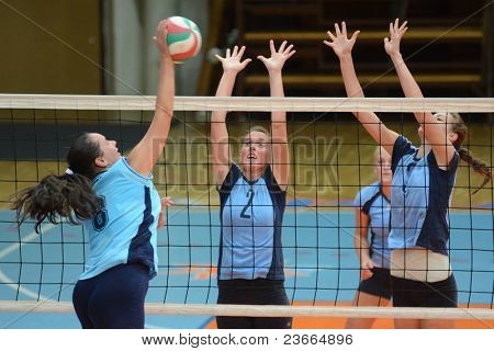 KAPOSVAR, HUNGARY - SEPTEMBER 11: Zsanett Pinter (2) in action at the Hungarian NB I. League volleyball game Kaposvar (blue) vs Budai XI. SE (light blue), September 11, 2011 in Kaposvar, Hungary.