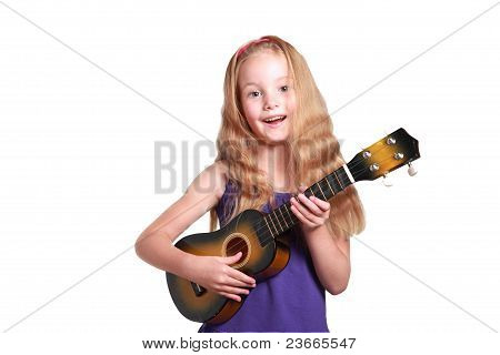 Little Girl Playing Ukelele