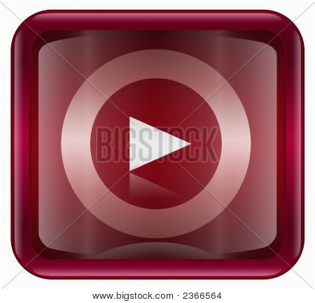 Play Icon Button Red, Isolated On White Background