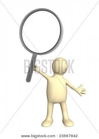 3d puppet, holding in hands the magnifier. Isolated over white