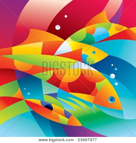 Abstract Colorful Fishes Near The Coral Reef
