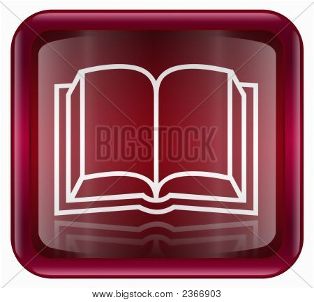 Book Icon Red, Isolated On White Background