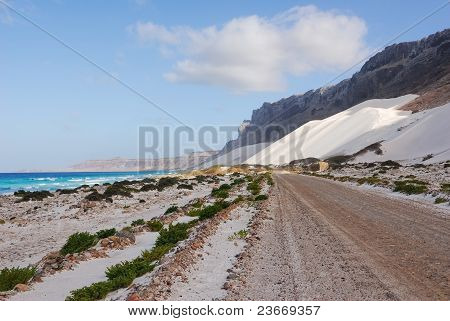 Ocean, Mountain, White Dune And Road