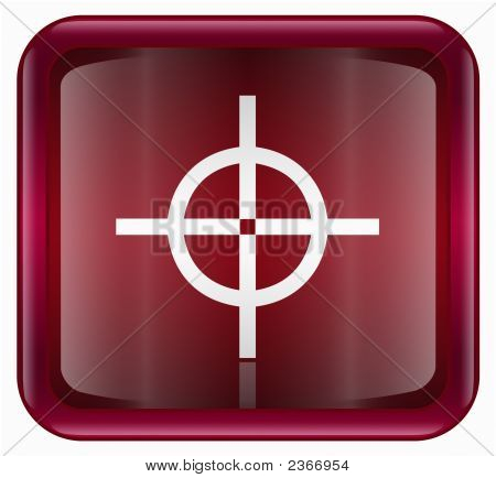 Target Icon Red, Isolated On White Background