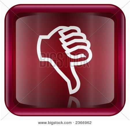 Thumb Down Icon Red, Isolated On White Background