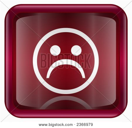 Smiley Face, Dissatisfied Red, Isolated On White Background