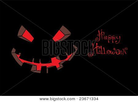 Vector scary face on black (Halloween illustration)
