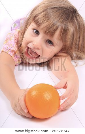 Girl With Healthy Fruit