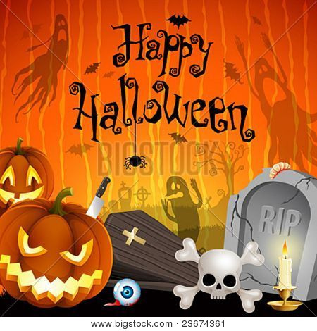 Halloween illustration with pumpkins, cemetery and place for text.