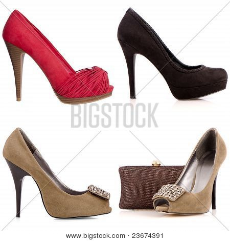 Four Female High-heeled Shoes