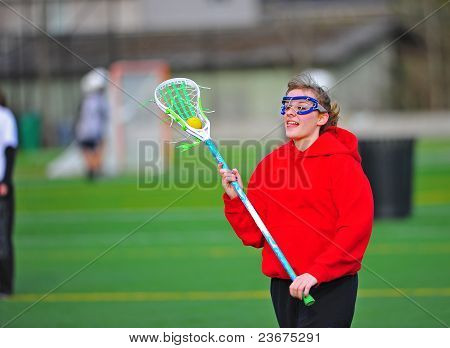 Lacrosse-Spieler in rot