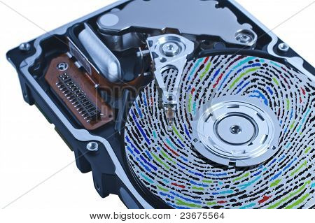 Hard Disk Drive With Colored Fingerprint