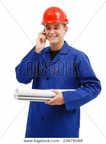 Happy Engineer Talking On The Phone