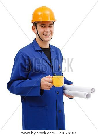 Smiling Architect Holding Coffee And Project Plans