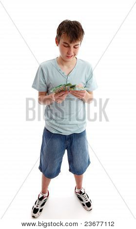 Teenager Counting His Money