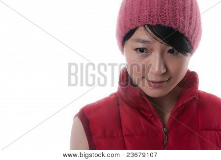 The Beautiful Asian Girl With Red Cap