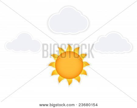 Cartoon Sun And Cloud, Isolated On White Background, Vector Illustration