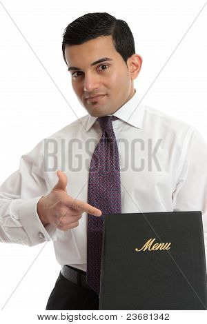 Man With A Menu Or Other Book