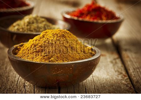 Spices Curry, Saffron, turmeric