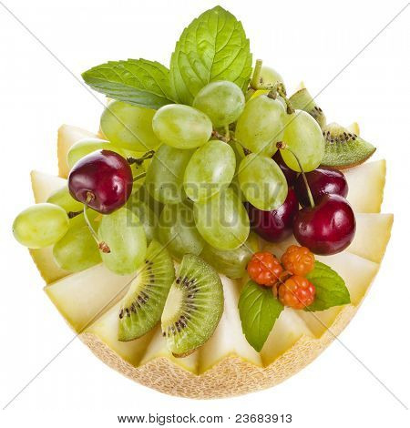 Fresh fruit salad isolated on white