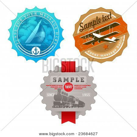 Vector vintage labels with retro transport - yacht, plane & steam locomotive