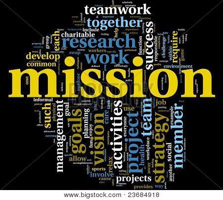 Mission und Business-Management-Konzept in Wort-Tag-Wolke, die isoliert auf schwarz