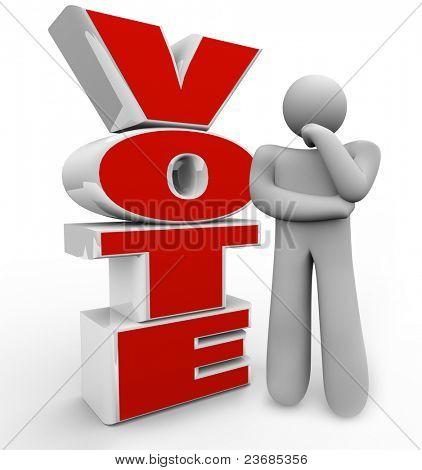 Eine denkende Mensch steht neben dem Wort stimmen, die Fragen, welche Kandidaten, Vorschlag oder Option He Schulter