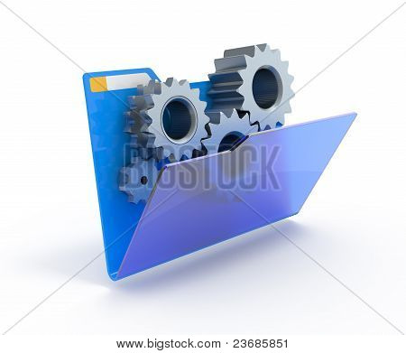 Gears In A Blue Folder.
