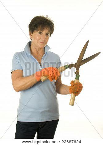 Female Middle Age Senior Woman Gardener Hand Tool Garden Shears