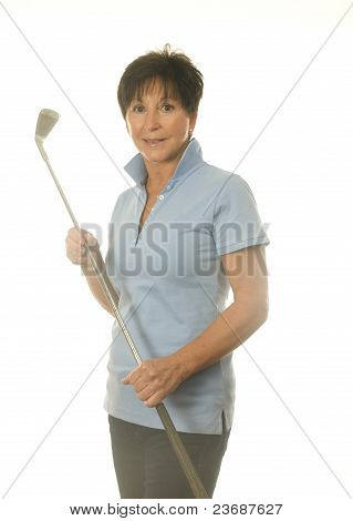 Female Middle Age Senior Woman Athlete With Gold Iron Club