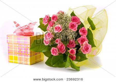 Beautiful Roses bouquet and present box on white background